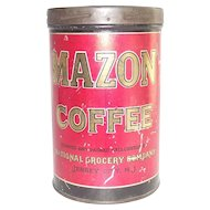 Vintage Coffee Tin Mazon Jersey City NJ General Store Advertising