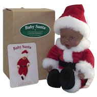 Anne Geddes Black African American Santa Doll in Original Box