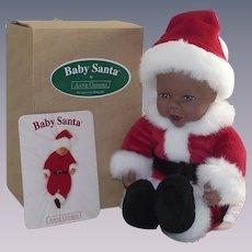 Anne Geddes Black African American Santa Doll in Original Box