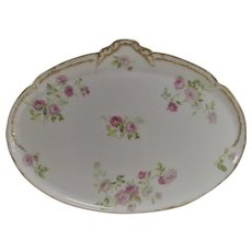 France Haviland Limoges Pink Roses Dresser Tray