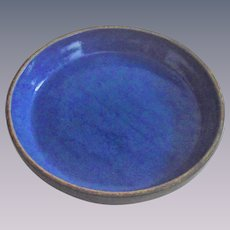 Vintage Yellow Ware Pie Plate with a Glazed Cobalt Interior