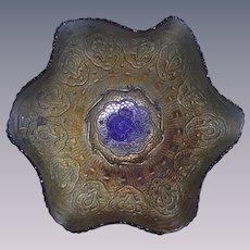 Vintage Fenton Cobalt Blue Persian Medallion Carnival Glass Bowl