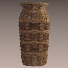 Sweet Grass Basket Vase with Glass Liner