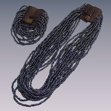 Vintage Hematite Beaded Necklace and Bracelet Set