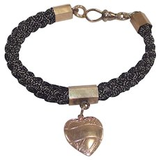 Victorian Woven Watch Chain Bracelet with Heart Charm