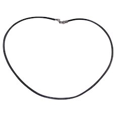 Vintage Black Rubber Cord Necklace With Sterling End Caps