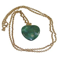 Vintage Green Nephrite Heart Pendant on Gold Fill Chain