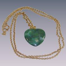 Vintage Green Nephrite Heart Pendant on Gold Fill Chain