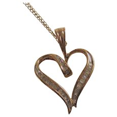 Vintage 10Kt Gold Chain with Diamond Heart Pendant