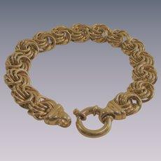 Vintage Gold over Sterling Italian Rosette Bracelet