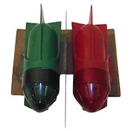 Mid Century Delta Rocket Torpedo Turn Signal Lights for a Boat or Bicycle Red/Green