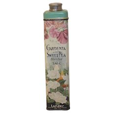 Vintage Landers Gardenia and Sweet Pea Talc Tin 1930's