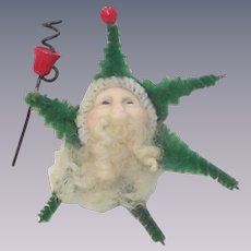 Vintage Chenille Santa with Painted Porcelain Face Brooch