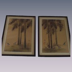 Vintage Japanese Oil Paintings on Watered Moire Silk Two Piece Set Framed Under Glass