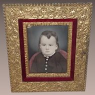 Framed Water Color Young Child - High Victorian Circa 1860s