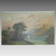 Victorian Sunday Artist Italian Lake and Mountain Oil Painting