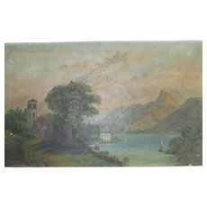 Victorian Sunday Artist Italian Lake and Mountain Oil Painting