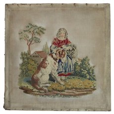 Victorian Large Needle Point Little Girl with Dog and Basket of Flowers
