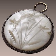 Vintage Mother of Pearl Coin Charm with Flower Engraving