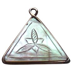 Vintage Mother of Pearl Triangle Engraved Fob Charm