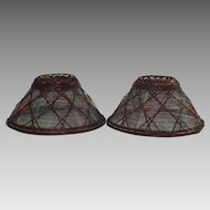 Vintage Wicker Arts and Crafts Era Candle Stick Shades Pair