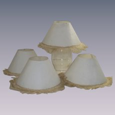 Set of Four White Paper Candle Stick Shades with Fringe