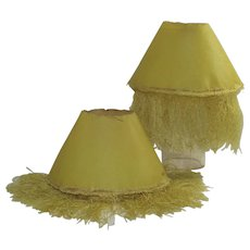 Set of Two Chartreuse Paper Candle Stick Shades with Fringe