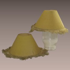 Set of Two Matching Pistachio Paper Candle Stick Liners with Fringe