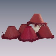 Set of Four Red Paper Candle Stick Shade Liners