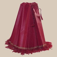 Vintage Red Pleated Oil Cloth Lamp Shade