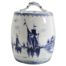 Vintage German Delft Canister with Windmills and Sailboats