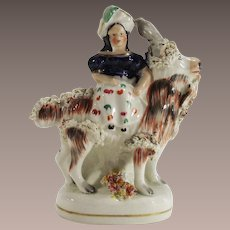 Antique 19th Century Staffordshire Figurine Girl on Goat