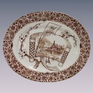 English Aesthetic Movement Copeland Brown and White Platter Cairo Pattern