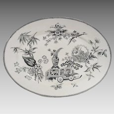 Victorian Aesthetic Movement Turkey Size Platter Lily and Vase by Thomas Elsmore & Son