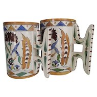Antique Italian Faience Mugs by Galvani circa 1900-20 a Matched Wedding Set