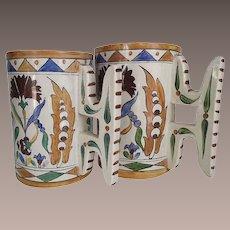 Antique Italian Faience Mugs by Galvani circa 1900-20 a Matched Wedding Set