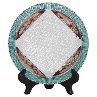 Vintage English Majolica Napkin Plate with Basket Weave Background