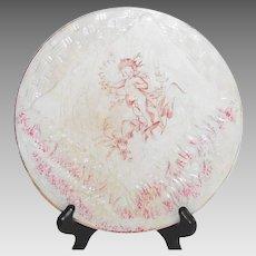 Victorian Majolica Napkin Plate with Cherub Circa 1900 American