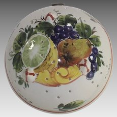 Vintage Italian Faience Fruit Colander Bowl
