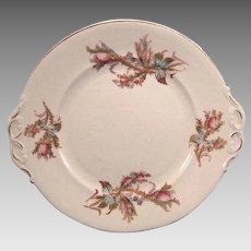 Vintage English Moss Rose Dessert Plate with Pink Roses and Bow Handles Serving Piece
