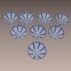 Mid Century Fukagawa Set of Eight Sake Cups