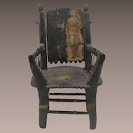 Hand Made Folk Art Chip Carved Doll Chair