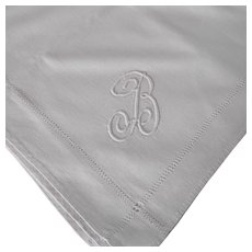 "Vintage Linen Monogramed ""B"" Table Cloth"