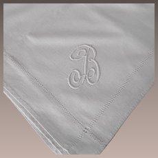 "Vintage Linen Monogramed ""B"" Table Cloth"