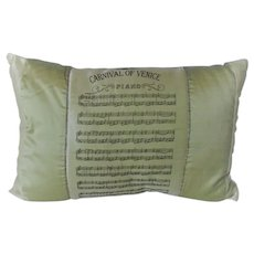 "Silk Pillow with Printed ""Carnival of Venice"" Score on Top"