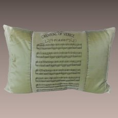 """Silk Pillow with Printed """"Carnival of Venice"""" Score on Top"""