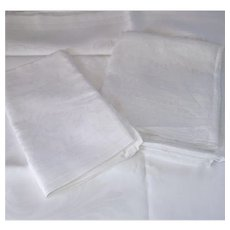 Vintage Three White Linen Table Clothes for Fabric Use