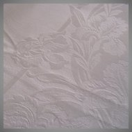 Vintage Damask Table Cloth with Iris