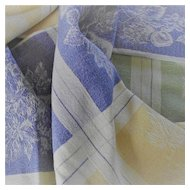Vintage Blues and Yellow Luncheon Cloth with Fruit