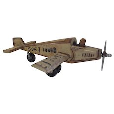 Vintage Hand Made Wooden Folk Art Airplane with Pilot